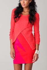 Cut25 Wrap Front Sweater in Pink (coral) - Lyst