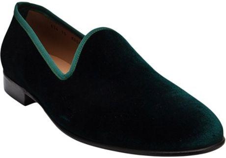 Del Toro Classic Velvet Slipper in Green for Men
