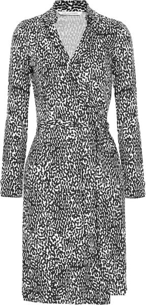 Diane Von Furstenberg Jeanne Printed Silkjersey Wrap Dress in Black - Lyst