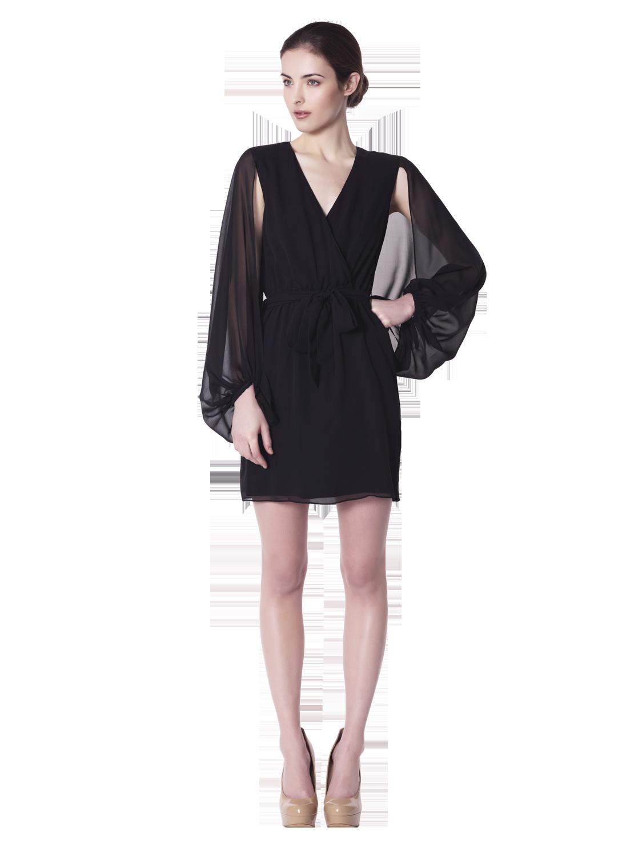 Erin Fetherston Cape Sleeve Wrap Dress In Black Lyst