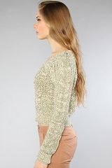 Free People The Cabletown Pullover in Green - Lyst