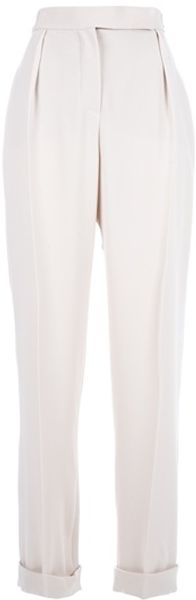 Lanvin Pleated Trouser in White - Lyst