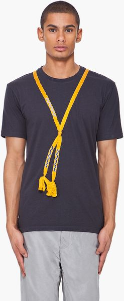 Lanvin woven tassel t shirt in blue for men yellow lyst for Mens shirt with tassels