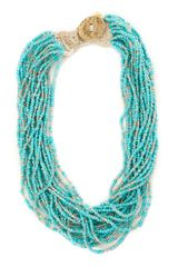 Lucky Brand Turquoise Seed Bead Necklace - Lyst
