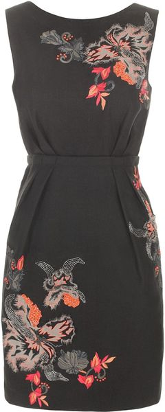 Matthew Williamson Embroidered Linen Day Dress in Black - Lyst