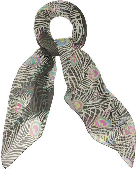 Matthew Williamson Peacock Chiffon Scarf in Multicolor (peacock)