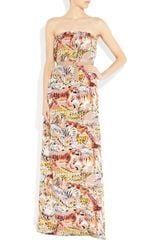 Mulberry Strapless Printed Silk Maxi Dress in Multicolor (multicolored) - Lyst