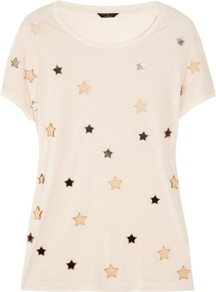 Mulberry Effie Starembellished Jersey Tshirt in Beige (transparent) - Lyst