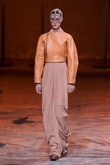 Rick Owens Fall 2012 Cropped Lantern Sleeve Leather Jacket in Beige - Lyst