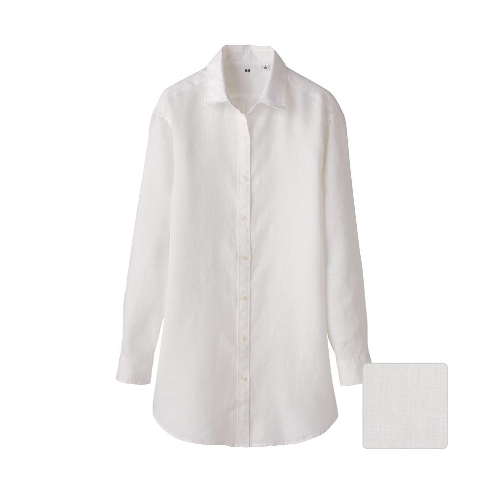 Uniqlo Women Premium Linen Long Sleeve Shirt Tunic In