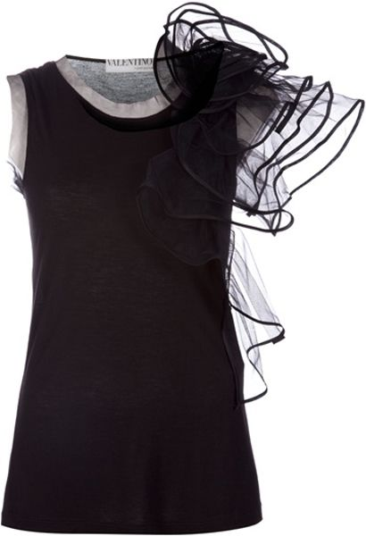 Valentino Ruffle Detail Top in Black