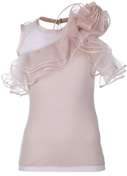 Valentino Ruffle Detail Top in Pink - Lyst