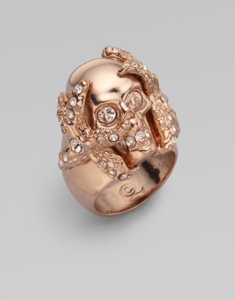 Alexander Mcqueen Swarovski Crystal Accented Skull Barnacle Ring in Gold (rose) - Lyst