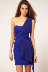 ASOS Collection Asos One Shoulder Drape Dress with Overlay - Lyst