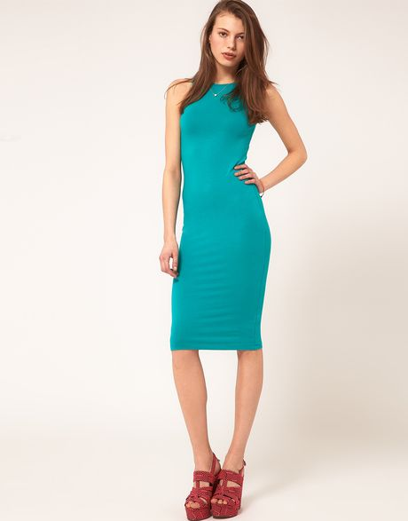 Asos Collection Asos Bodycon Dress with High Neck in Green - Lyst