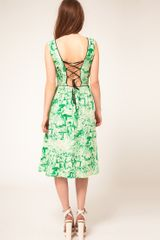 Asos Collection Asos Midi Dress in Watercolour Print in Green - Lyst