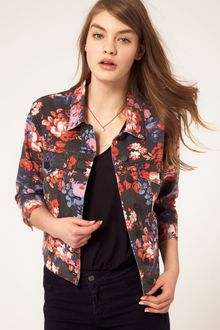 ASOS Collection Asos Cropped Denim Western Jacket in Floral Print - Lyst
