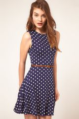 ASOS Collection Asos Sleeveless Skater Dress with Belt in Spot Print - Lyst