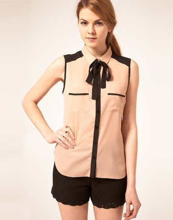 ASOS Collection Sleeveless Blouse With Colour Blocking - Lyst