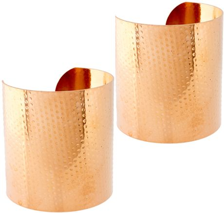 Asos Hammered Double Cuffs in Gold - Lyst