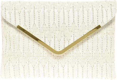 Asos Collection Asos Weave Metal Bar Clutch in Beige (white) - Lyst