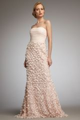 Badgley Mischka Strapless Floral-applique Gown - Lyst