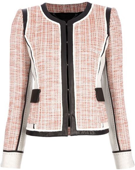 Barbara Bui Tweed and Leather Jacket in Pink (nude) - Lyst