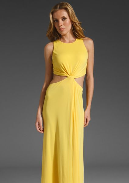 Bcbgmaxazria Cut Out Maxi Dress in Yellow (radiant yellow) - Lyst