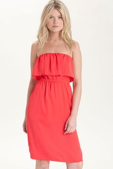BCBGMAXAZRIA Strapless Ruffle Dress - Lyst