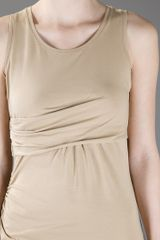 Carven Drape Dress in Beige - Lyst