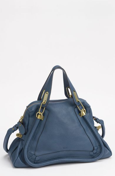 Chloé Paraty  Medium Calfskin Leather Satchel in Blue (ocean) - Lyst