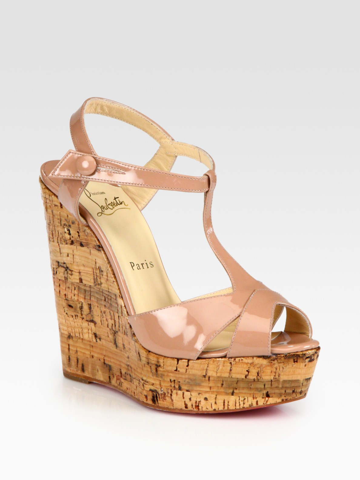 Christian louboutin Patent Leather T-strap Cork Wedge Sandals in ...