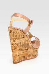 Christian Louboutin Patent Leather Tstrap Cork Wedge Sandals in Brown (nude) - Lyst