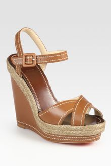 Christian Louboutin Leather Slingback Espadrille Wedge Sandals - Lyst