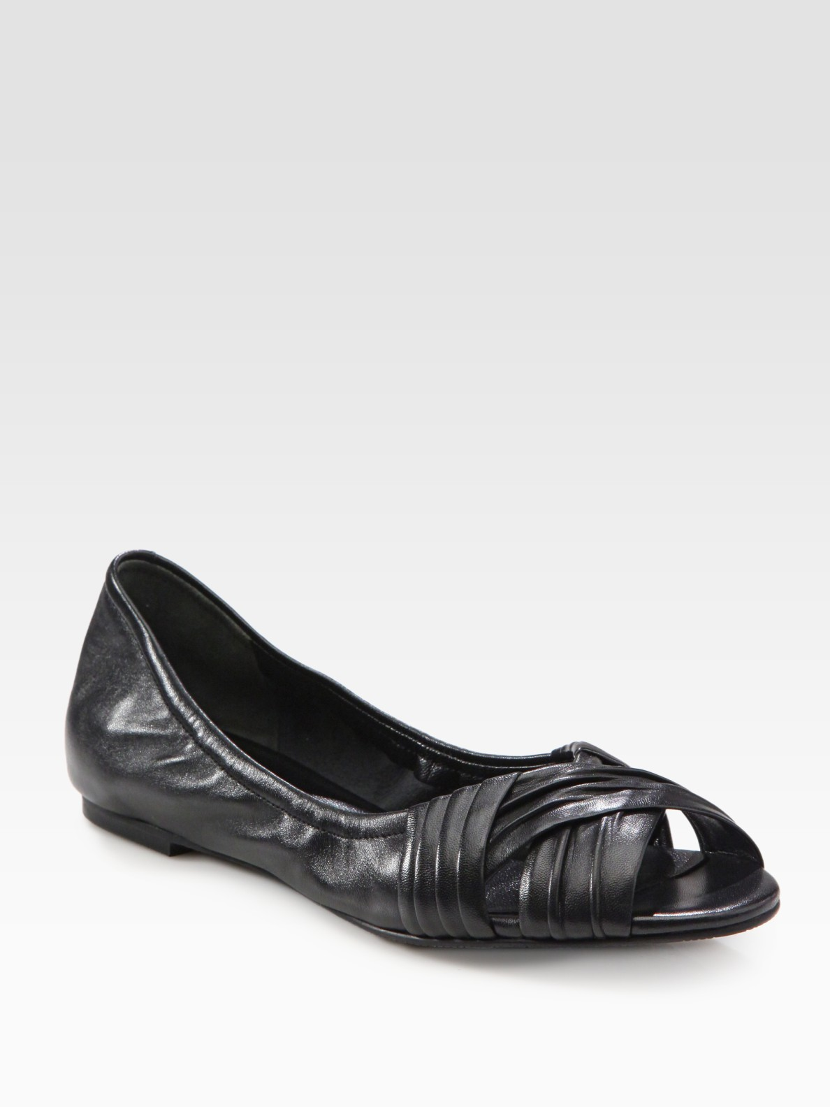 Lyst Cole Haan Air Nadine Leather Peep Toe Ballet Flats