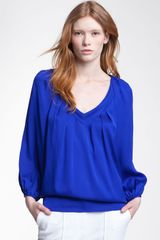 Diane Von Furstenberg Cahill Pleated V-neck Silk Top - Lyst