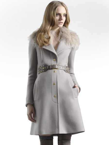 Gucci Fur Collared Wool Cashmere Coat In Gray Grey Lyst