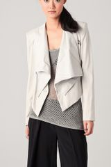 Helmut Lang Linen & Leather Combo Jacket in Gray - Lyst