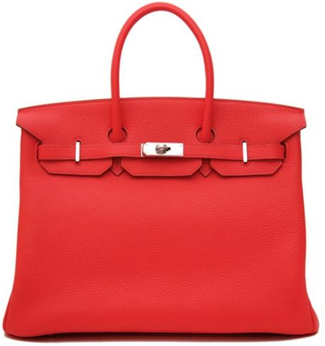Hermes 35cm Rose Jaipur Clemence Birkin in Red (rose) - Lyst