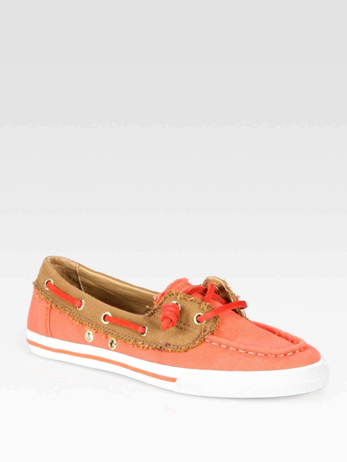 frayed canvas leather boat shoes in brown