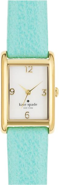 Kate Spade Cooper Leather Strap Watch in Blue (gold/ turquoise) - Lyst