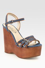 Kors By Michael Kors Jacinda Denim and Leather Slingback Wedge Sandals - Lyst