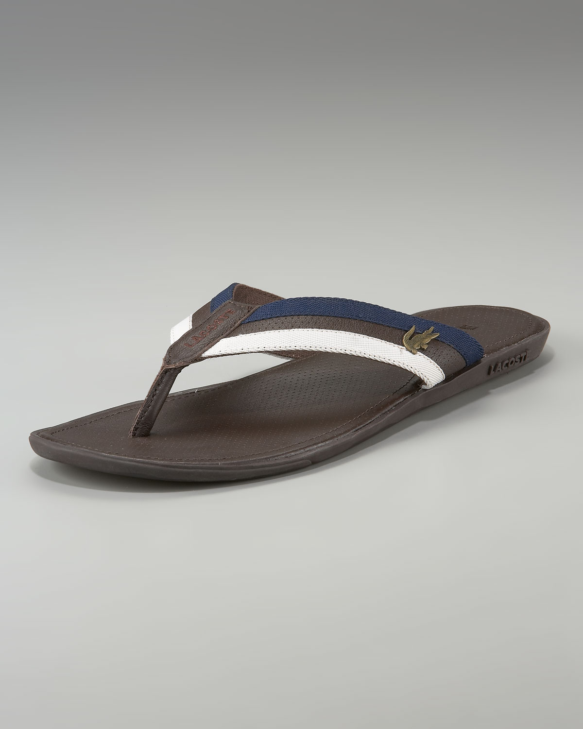 f65629acd25e35 Lyst - Lacoste Carros Striped Flip-flop in Brown for Men