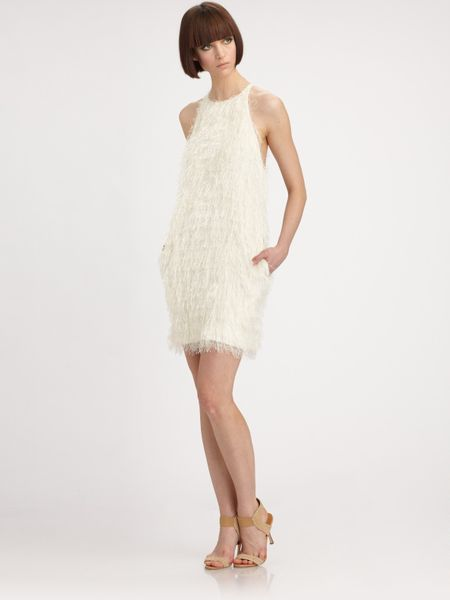 L'agence Shag Shift Dress in White (ivory) - Lyst