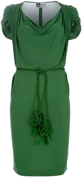 Lanvin Belted Dress in Green - Lyst