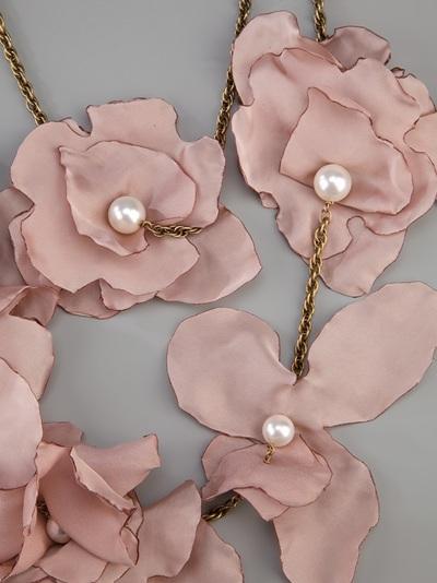 Lanvin Silk Flower Necklace In Pink Lyst
