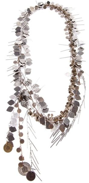 Lanvin Brass Coin Necklace in Silver - Lyst