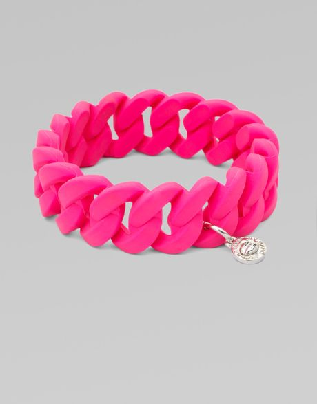 Marc By Marc Jacobs Rubber Wrapped Structural Chain Link Bangle Bracelet in Pink (fluoropink) - Lyst