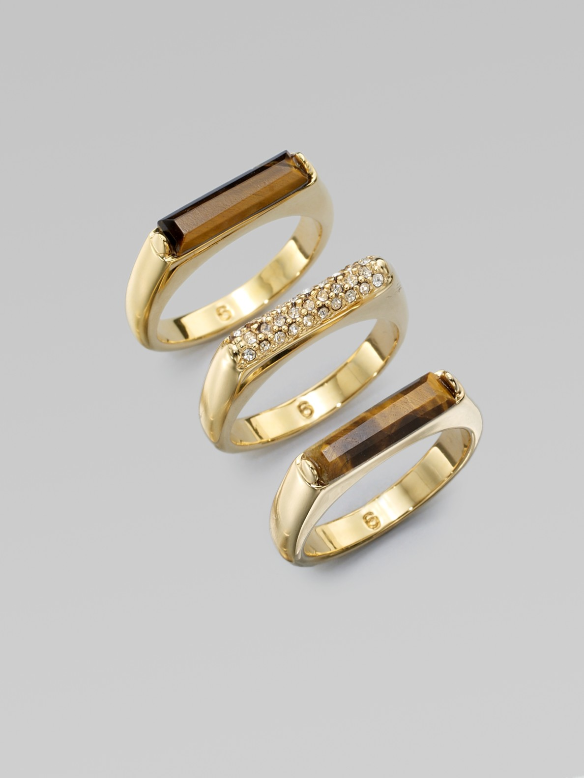 michael kors stone tigers eye stacked rings in gold lyst. Black Bedroom Furniture Sets. Home Design Ideas
