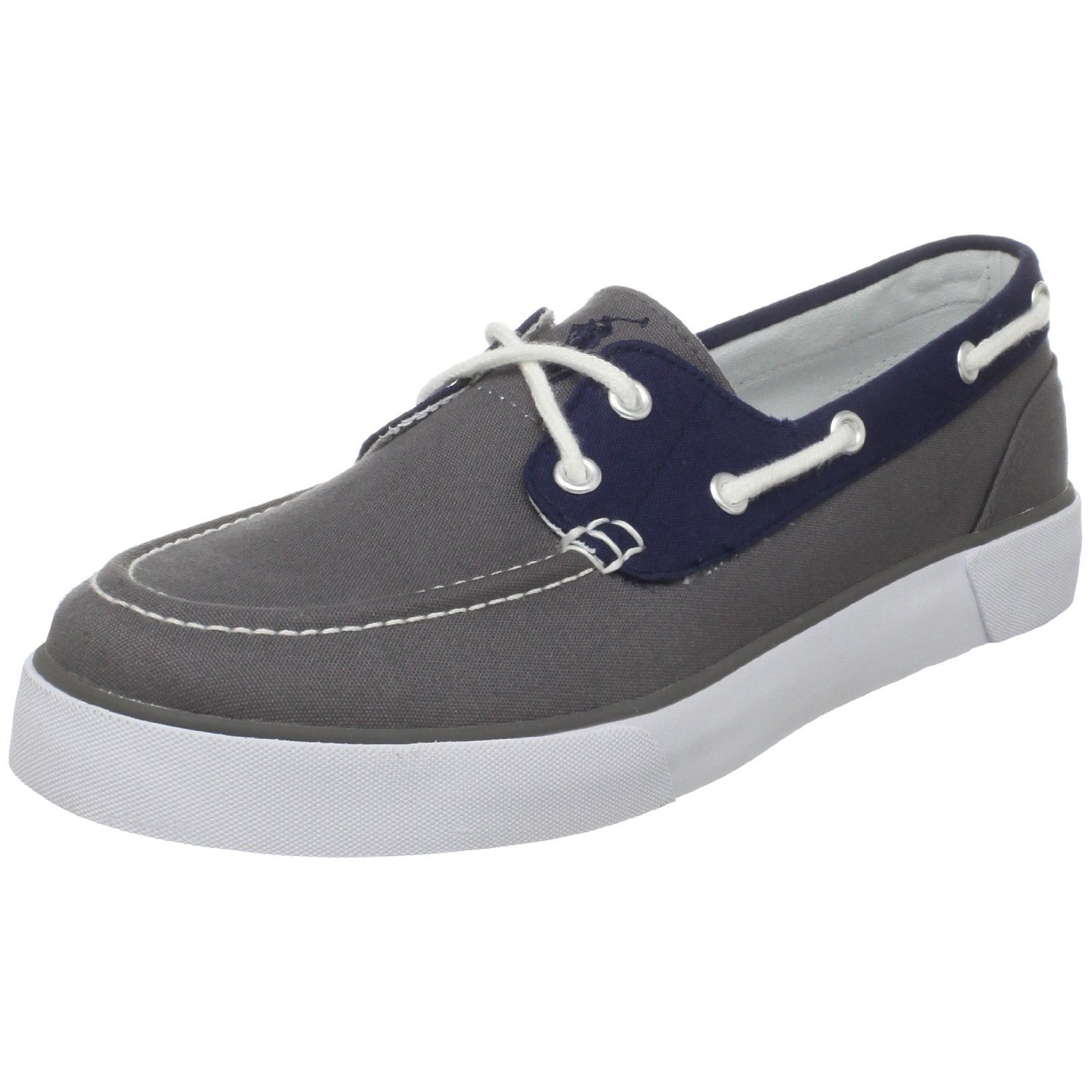 polo ralph mens lander boat shoe in gray for